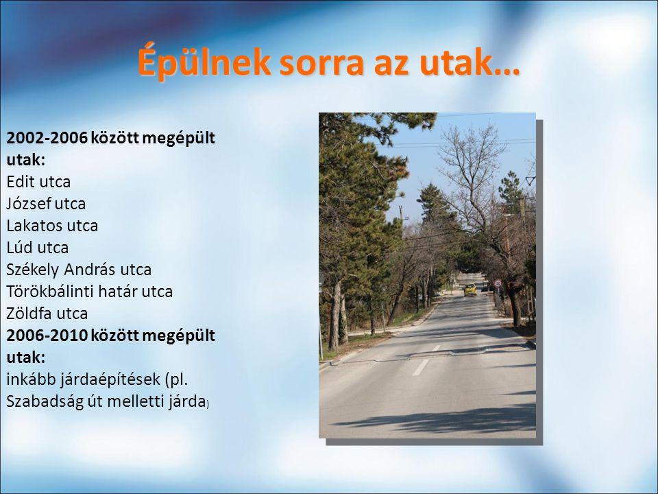 Épülnek sorra az utak… 2002-2006 között megépült utak: Edit utca József utca Lakatos utca Lúd utca Székely András utca Törökbálinti határ utca Zöldfa utca 2006-2010 között megépült utak: inkább járdaépítések (pl.