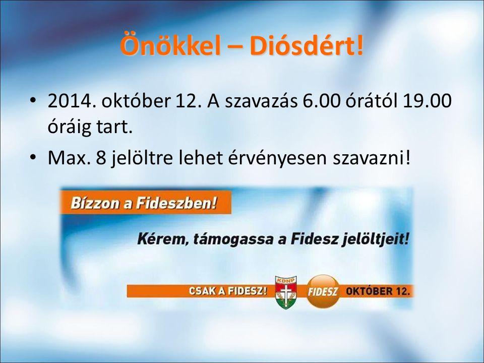 Önökkel – Diósdért.2014. október 12. A szavazás 6.00 órától 19.00 óráig tart.