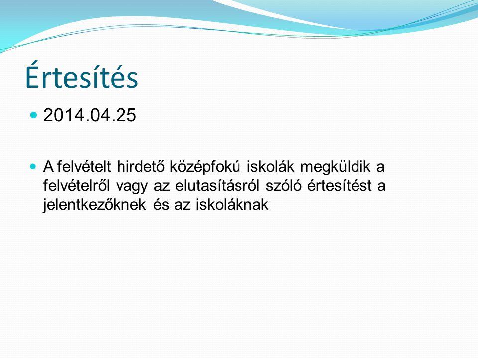 Értesítés 2014.04.25 A felvételt hirdető középfokú iskolák megküldik a felvételről vagy az elutasításról szóló értesítést a jelentkezőknek és az iskoláknak
