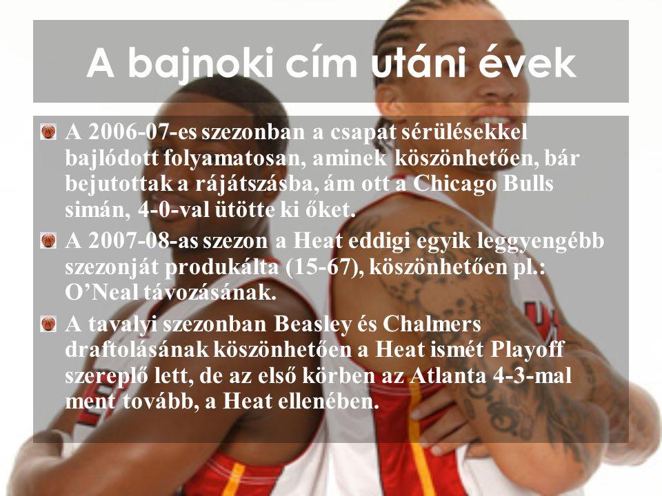 A bajnoki cím utáni évek A 2006-07-es szezonban a csapat sérülésekkel bajlódott folyamatosan, aminek köszönhetően, bár bejutottak a rájátszásba, ám ot