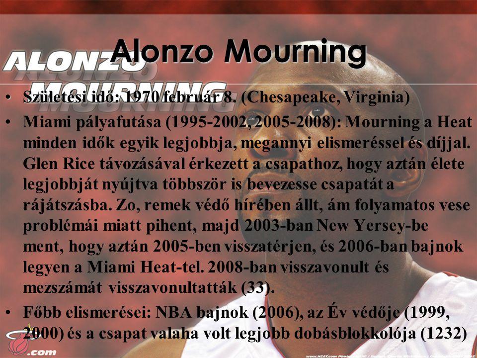 Alonzo Mourning Születési idő:Születési idő: 1970 február 8.