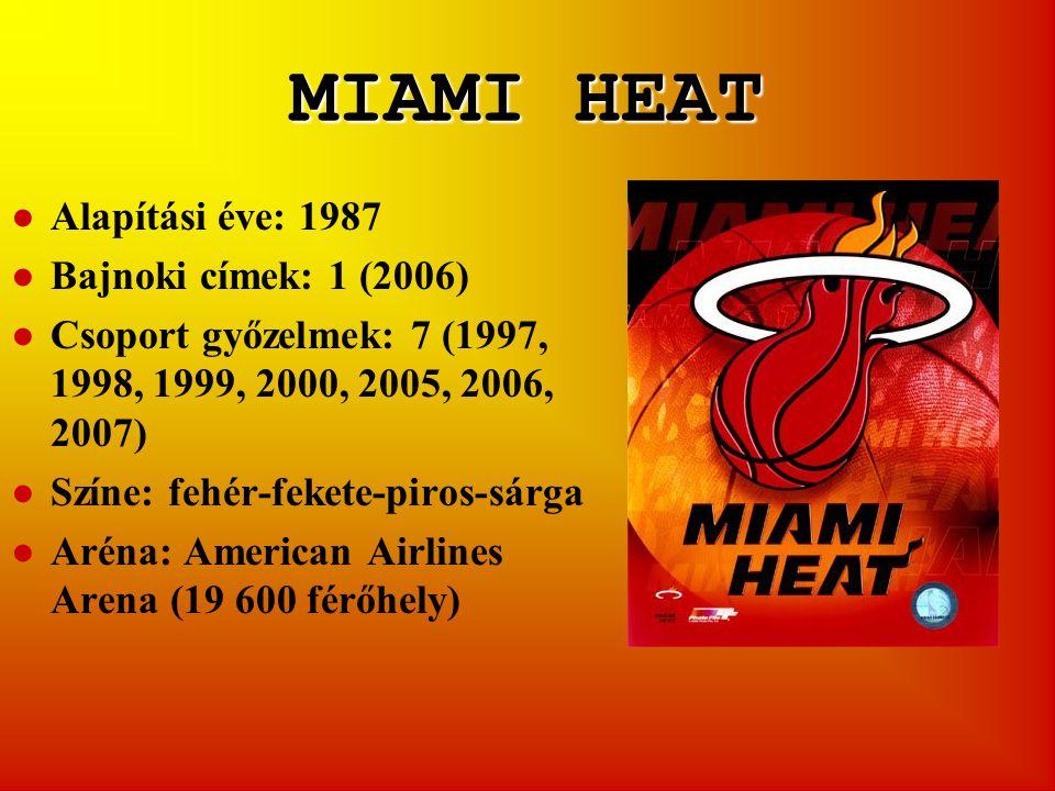 MIAMI HEAT ●Alapítási éve: 1987 ●Bajnoki címek: 1 (2006) ●Csoport győzelmek: 7 (1997, 1998, 1999, 2000, 2005, 2006, 2007) ●Színe: fehér-fekete-piros-sárga ●Aréna: American Airlines Arena (19 600 férőhely)