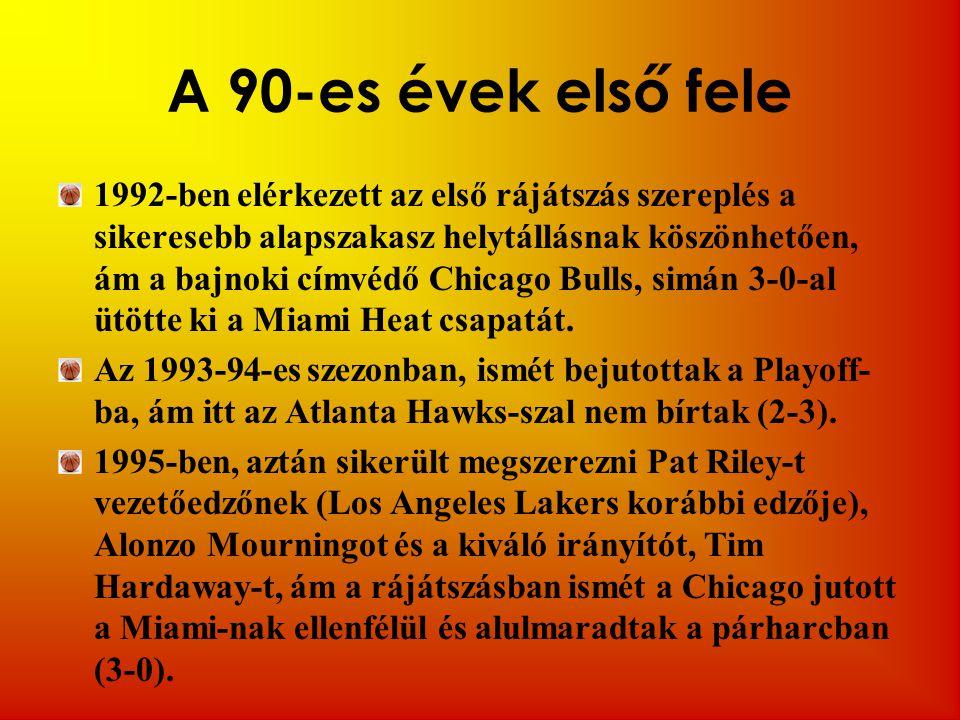 A 90-es évek első fele 1992-ben elérkezett az első rájátszás szereplés a sikeresebb alapszakasz helytállásnak köszönhetően, ám a bajnoki címvédő Chicago Bulls, simán 3-0-al ütötte ki a Miami Heat csapatát.