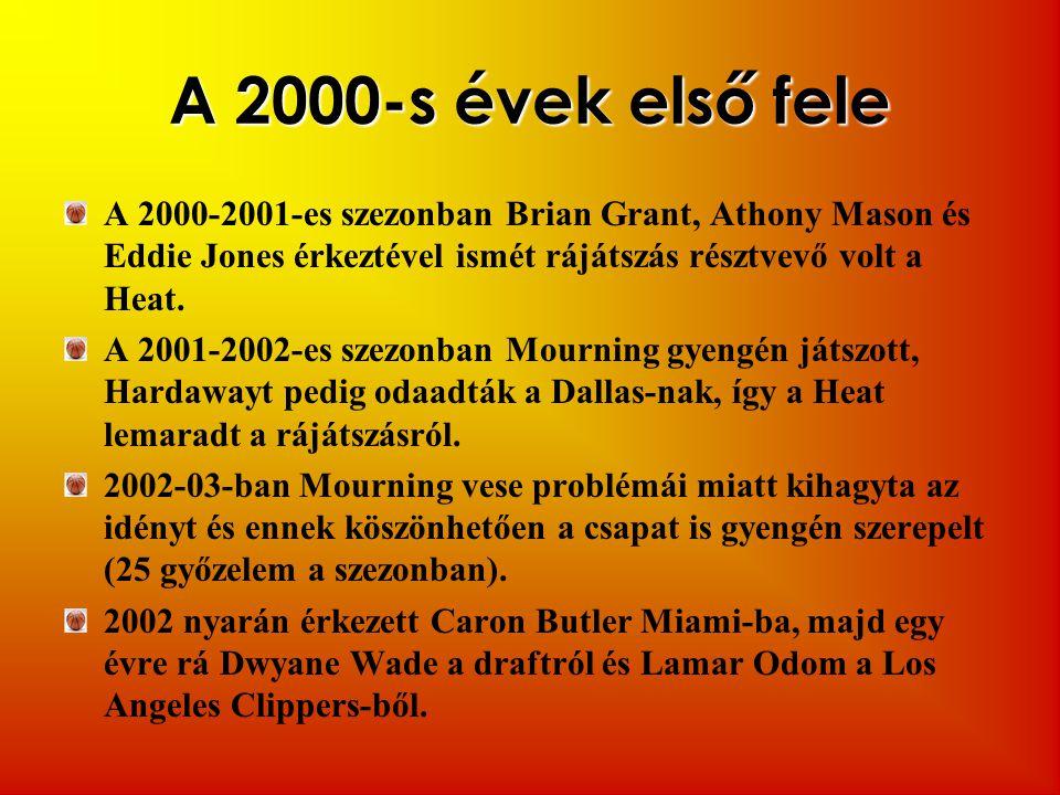 A 2000-s évek első fele A 2000-2001-es szezonban Brian Grant, Athony Mason és Eddie Jones érkeztével ismét rájátszás résztvevő volt a Heat. A 2001-200