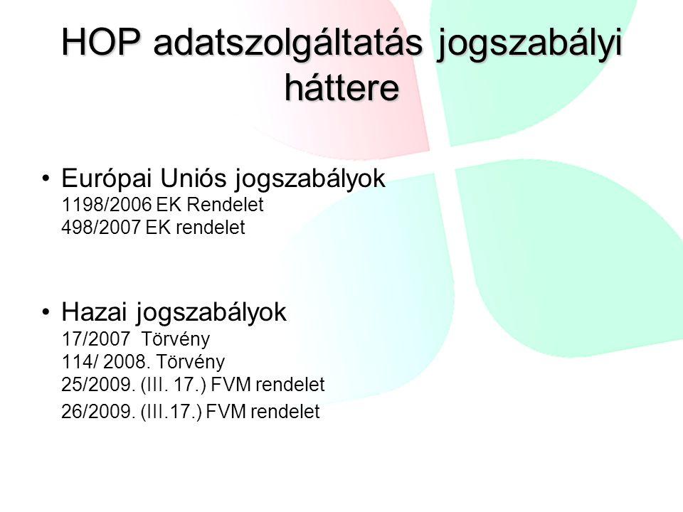 HOP adatszolgáltatás jogszabályi háttere Európai Uniós jogszabályok 1198/2006 EK Rendelet 498/2007 EK rendelet Hazai jogszabályok 17/2007 Törvény 114/ 2008.
