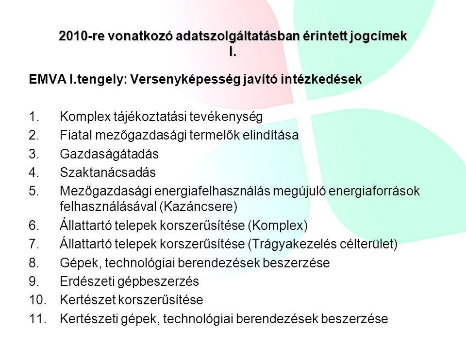 2010-re vonatkozó adatszolgáltatásban érintett jogcímek I.