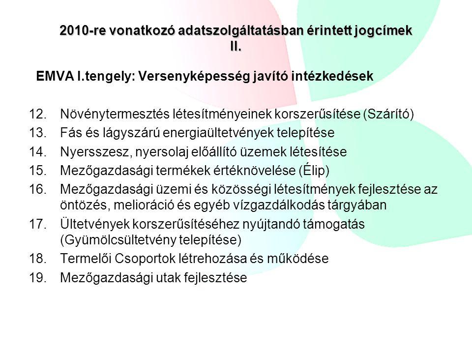 2010-re vonatkozó adatszolgáltatásban érintett jogcímek II.