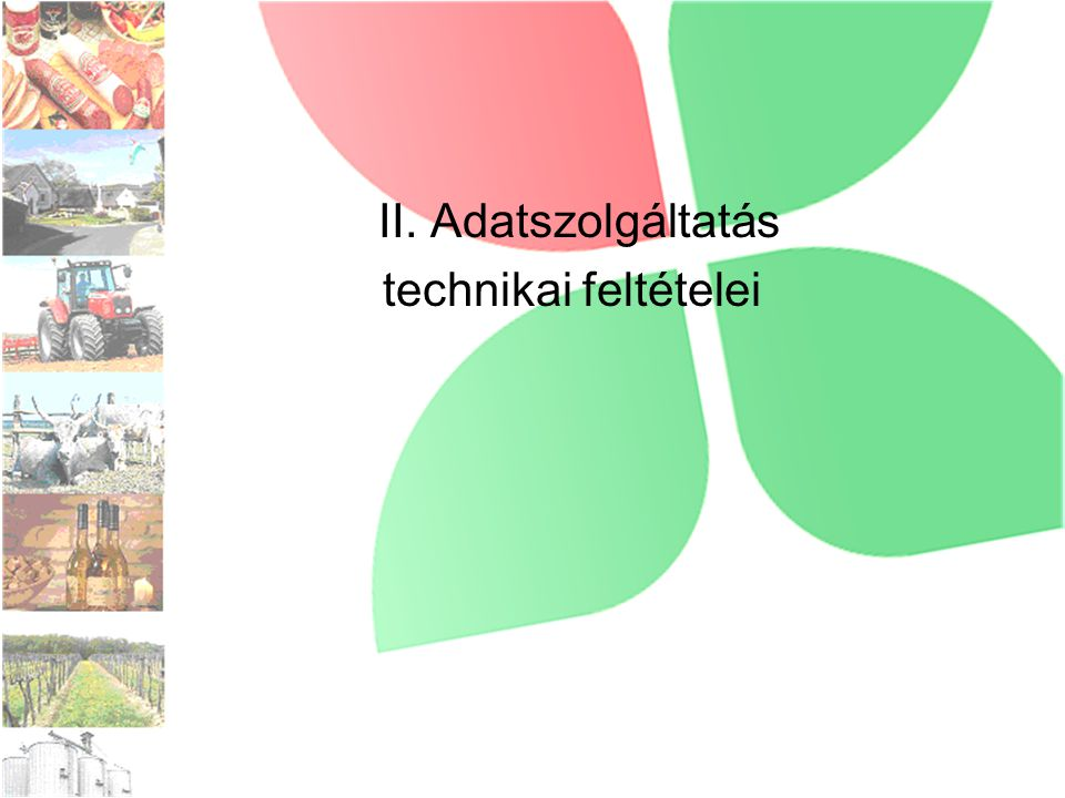 II. Adatszolgáltatás technikai feltételei