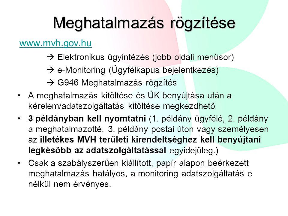 www.mvh.gov.hu  Elektronikus ügyintézés (jobb oldali menüsor)  e-Monitoring (Ügyfélkapus bejelentkezés)  G946 Meghatalmazás rögzítés A meghatalmazás kitöltése és ÜK benyújtása után a kérelem/adatszolgáltatás kitöltése megkezdhető 3 példányban kell nyomtatni (1.