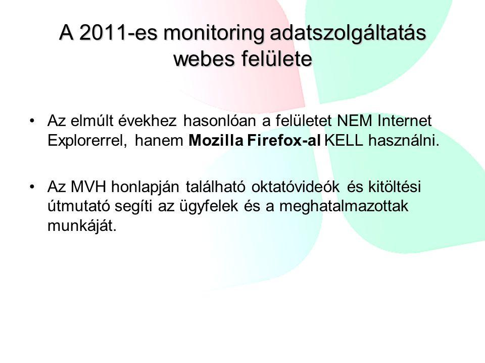A 2011-es monitoring adatszolgáltatás webes felülete Az elmúlt évekhez hasonlóan a felületet NEM Internet Explorerrel, hanem Mozilla Firefox-al KELL használni.