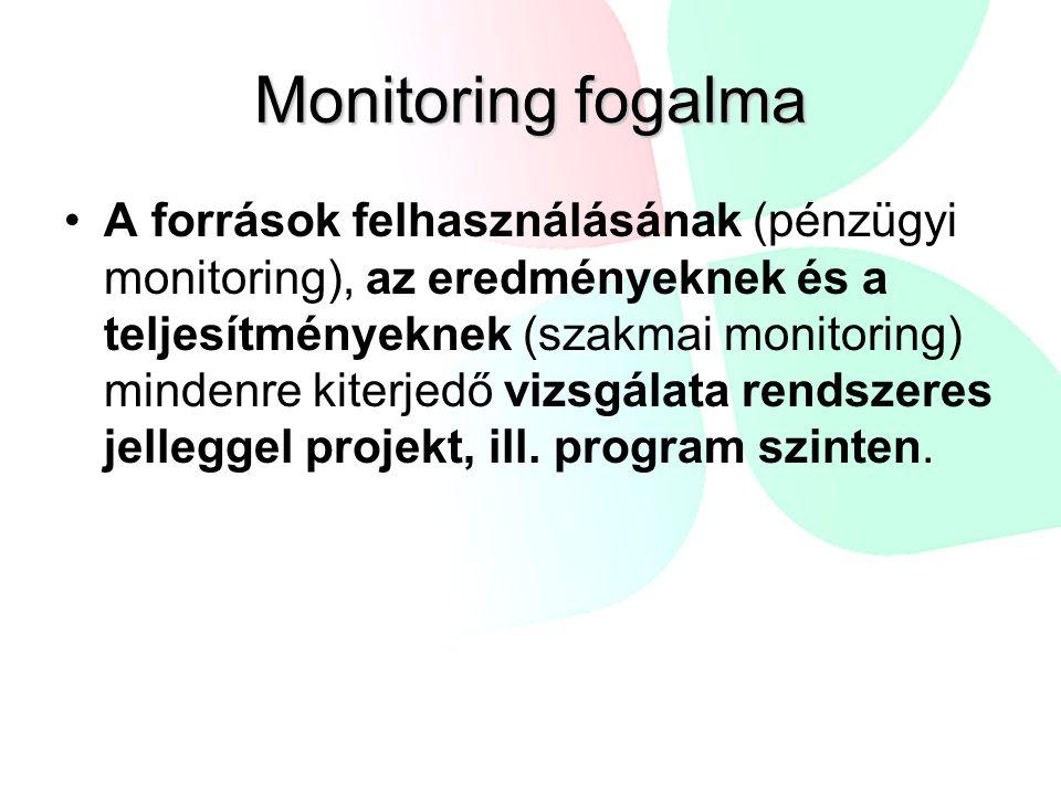 Monitoring fogalma A források felhasználásának (pénzügyi monitoring), az eredményeknek és a teljesítményeknek (szakmai monitoring) mindenre kiterjedő vizsgálata rendszeres jelleggel projekt, ill.