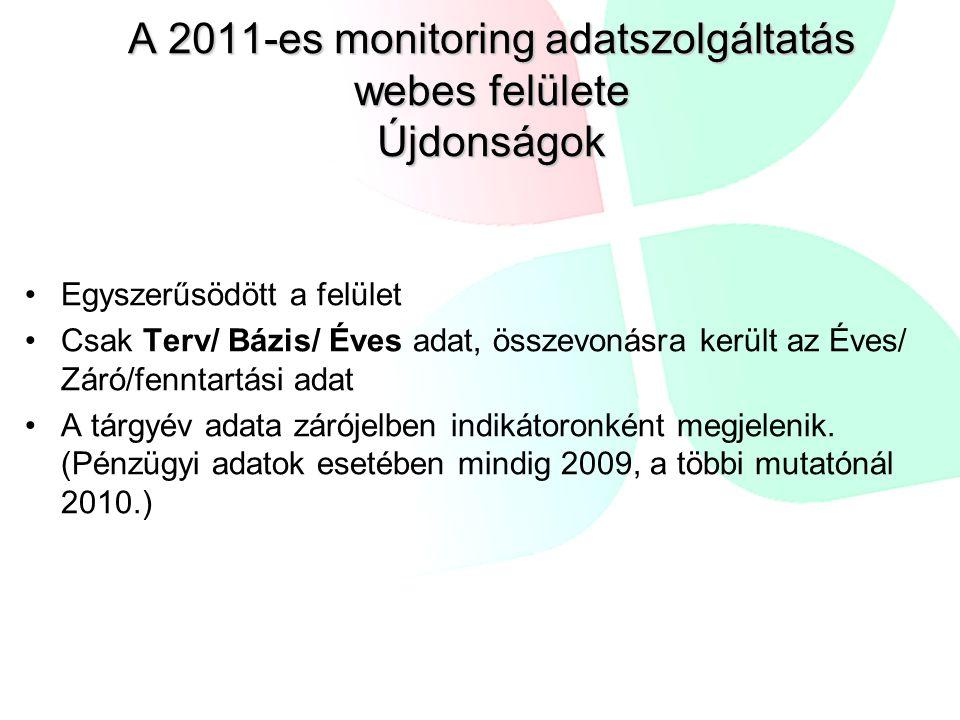 A 2011-es monitoring adatszolgáltatás webes felülete Újdonságok Egyszerűsödött a felület Csak Terv/ Bázis/ Éves adat, összevonásra került az Éves/ Záró/fenntartási adat A tárgyév adata zárójelben indikátoronként megjelenik.