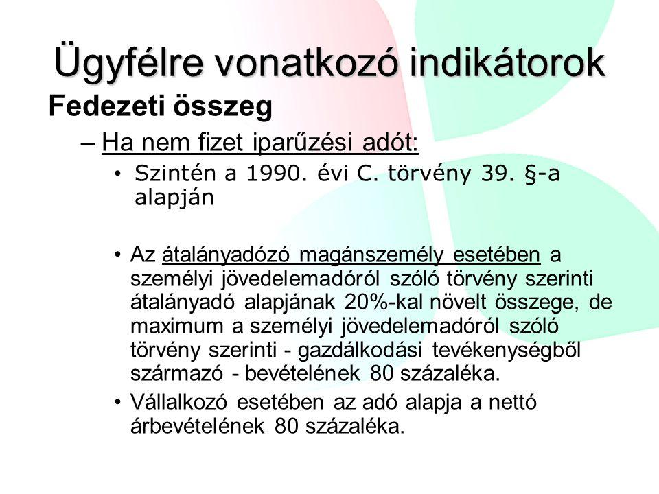 Ügyfélre vonatkozó indikátorok Fedezeti összeg –Ha nem fizet iparűzési adót: Szintén a 1990.