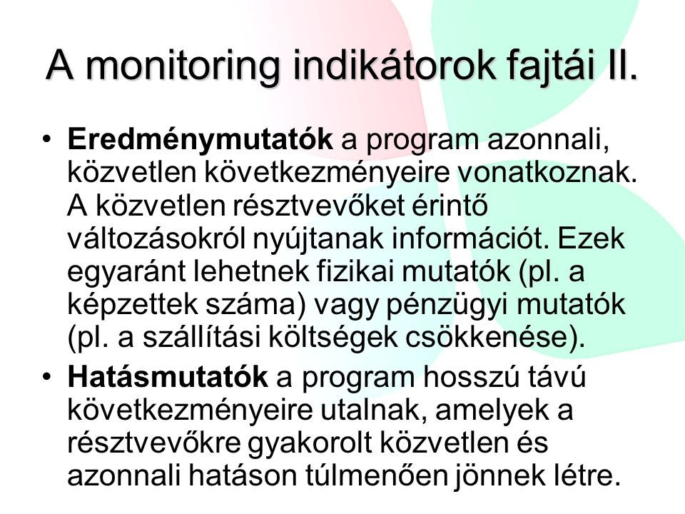 A monitoring indikátorok fajtái II.