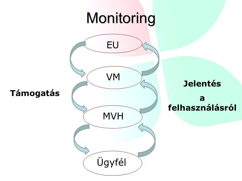 Monitoring VM Ügyfél Támogatás Jelentés a felhasználásról EU MVH