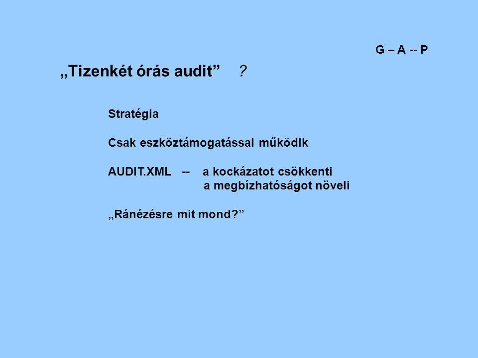 """""""Tizenkét órás audit"""" ? G – A -- P Stratégia Csak eszköztámogatással működik AUDIT.XML -- a kockázatot csökkenti a megbízhatóságot növeli """"Ránézésre m"""