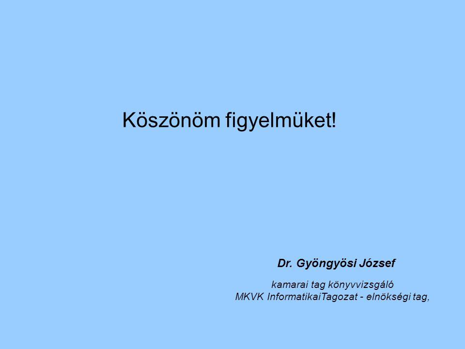 Köszönöm figyelmüket! Dr. Gyöngyösi József kamarai tag könyvvizsgáló MKVK InformatikaiTagozat - elnökségi tag,