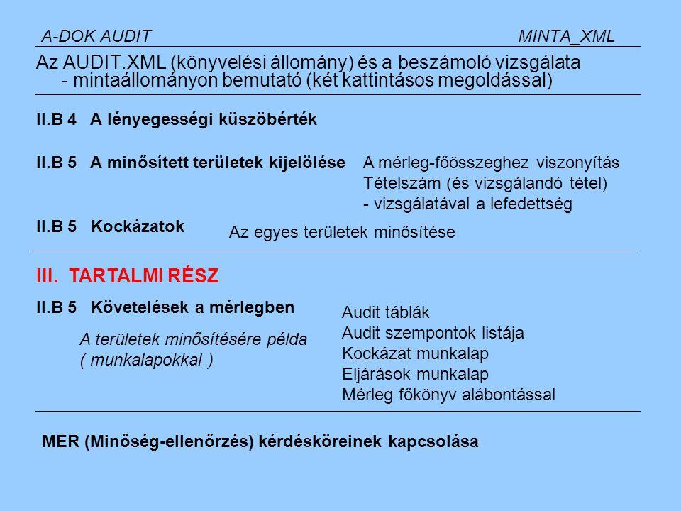 A-DOK ADÓMINTA_ADO Az adófolyószámla (előírás és teljesítés), az AUDIT.XML (könyvelési állomány) és a bevallások vizsgálata - mintaállományon bemutató (két kattintásos megoldással) Bevallások nyilvántartása ADÓ-KONTROLL TÁBLÁK Adófolyószámla munkatáblák Éves összesítés adónemekre Adónemenként a havi táblák