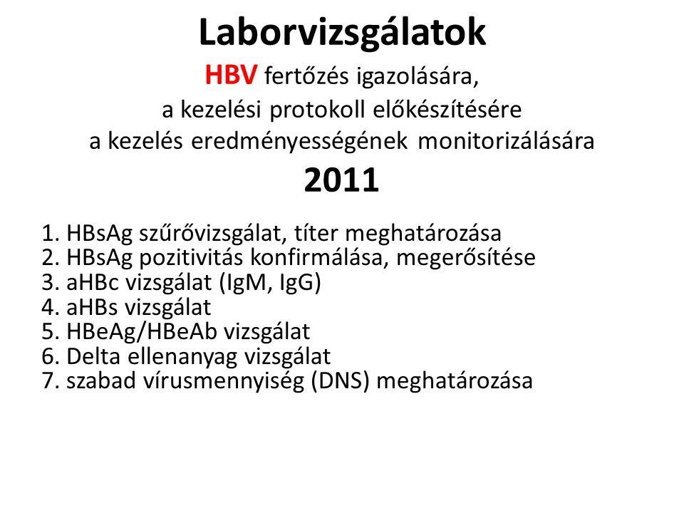 Laborvizsgálatok HBV fertőzés igazolására, a kezelési protokoll előkészítésére a kezelés eredményességének monitorizálására 2011 1. HBsAg szűrővizsgál