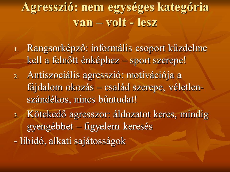 Agresszió: nem egységes kategória van – volt - lesz Agresszió: nem egységes kategória van – volt - lesz 1.