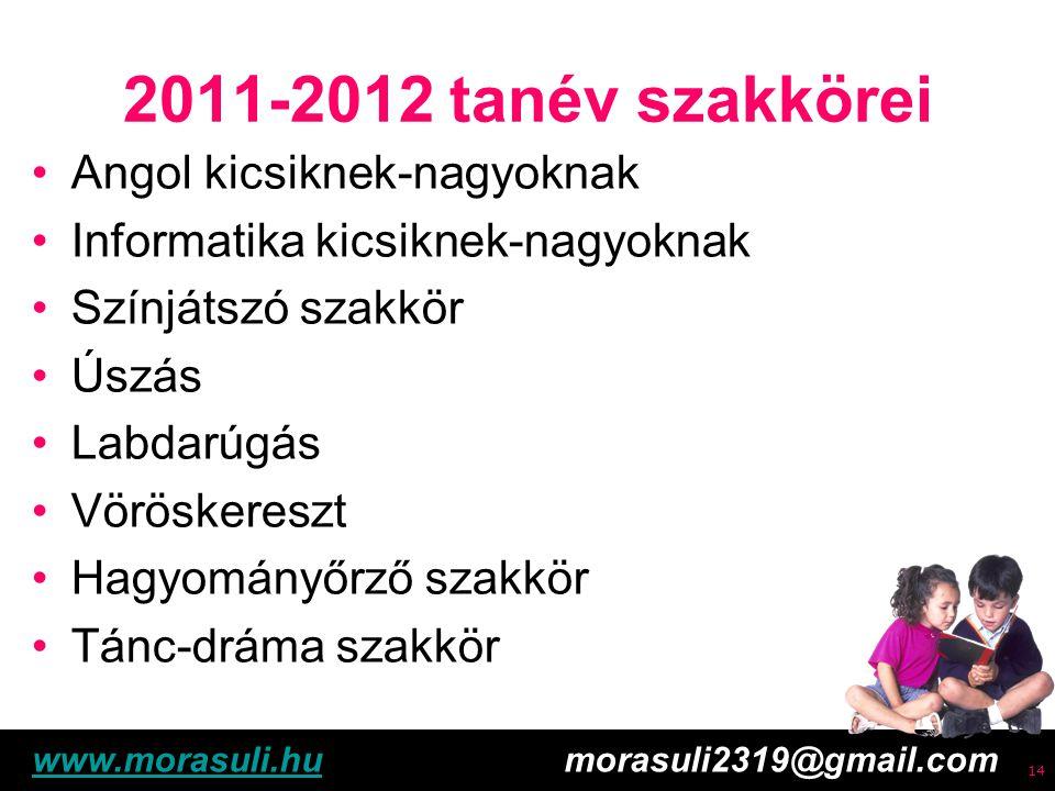 Free powerpoint template: www.brainybetty.com 15 2011-2012 tanév szakkörei Tömegsport foglalkozások heti 4 órában – 2 lányoknak, 2 fiúknak Nemzetiségi néptánc Művészeti iskola – Kiskunlacháza Hittan Írásban jelentkezünk – 1 évre szól www.morasuli.huwww.morasuli.hu morasuli2319@gmail.com