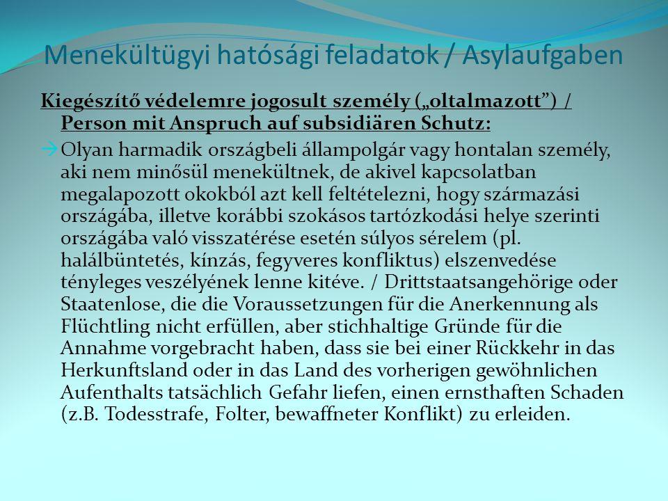Menekültügyi hatósági feladatok / Asylaufgaben Menekült / Flüchtling: 1951.07.28.