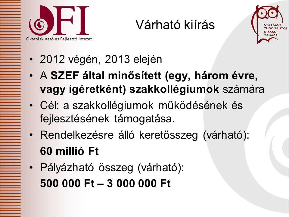Oktatáskutató és Fejlesztő Intézet Várható kiírás 2012 végén, 2013 elején A SZEF által minősített (egy, három évre, vagy ígéretként) szakkollégiumok számára Cél: a szakkollégiumok működésének és fejlesztésének támogatása.