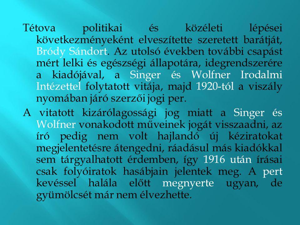 Tétova politikai és közéleti lépései következményeként elveszítette szeretett barátját, Bródy Sándort. Az utolsó években további csapást mért lelki és