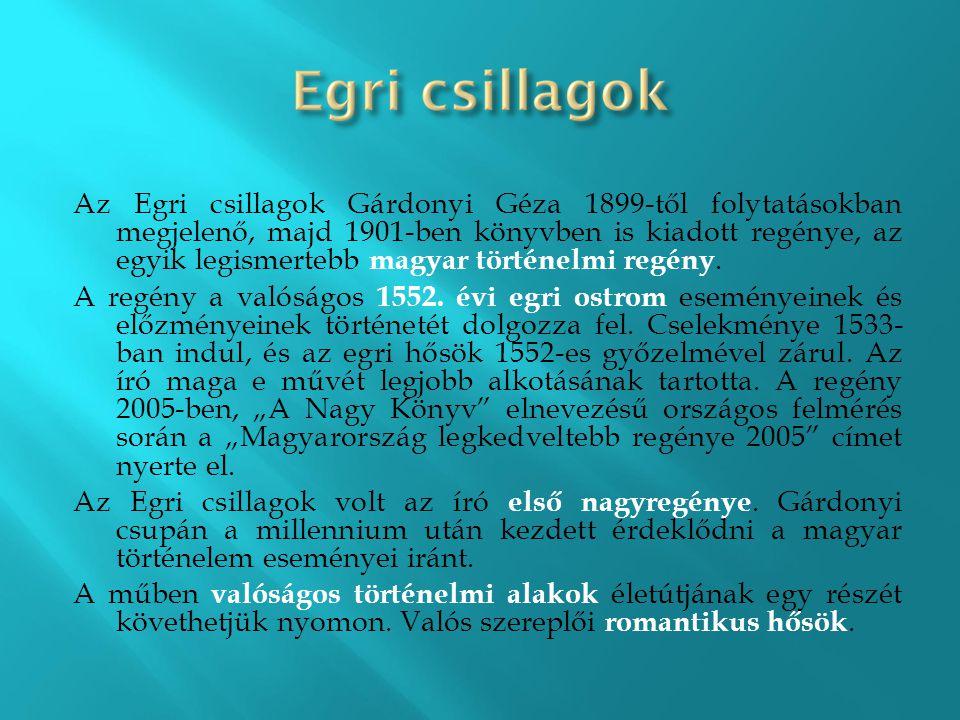 Az Egri csillagok Gárdonyi Géza 1899-től folytatásokban megjelenő, majd 1901-ben könyvben is kiadott regénye, az egyik legismertebb magyar történelmi