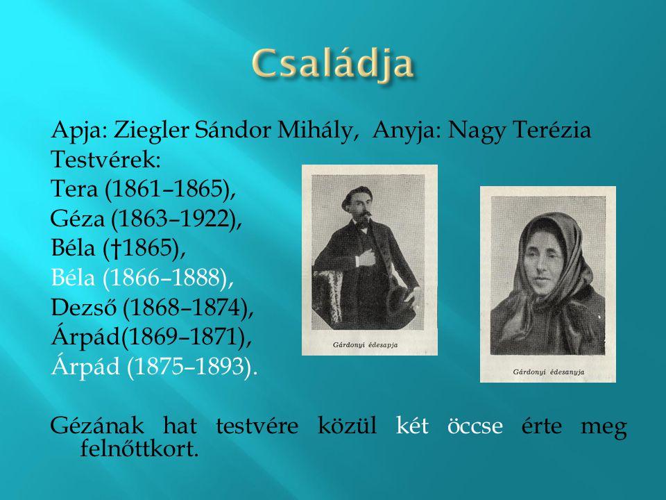 Apja: Ziegler Sándor Mihály, Anyja: Nagy Terézia Testvérek: Tera (1861–1865), Géza (1863–1922), Béla (†1865), Béla (1866–1888), Dezső (1868–1874), Árp