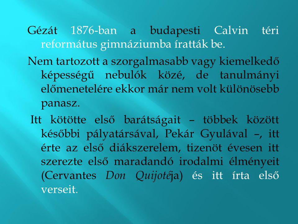 Gézát 1876-ban a budapesti Calvin téri református gimnáziumba íratták be. Nem tartozott a szorgalmasabb vagy kiemelkedő képességű nebulók közé, de tan