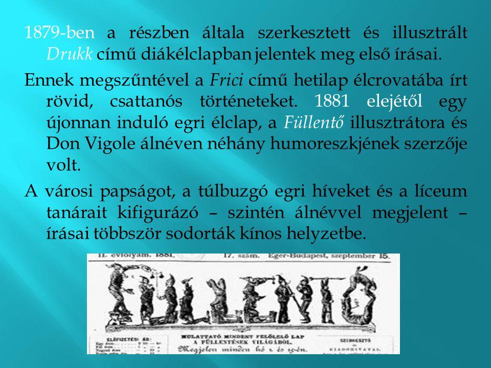 1879-ben a részben általa szerkesztett és illusztrált Drukk című diákélclapban jelentek meg első írásai. Ennek megszűntével a Frici című hetilap élcro