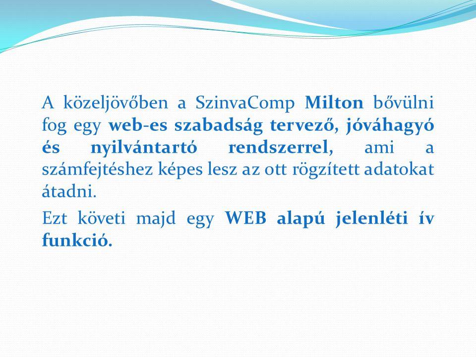 A közeljövőben a SzinvaComp Milton bővülni fog egy web-es szabadság tervező, jóváhagyó és nyilvántartó rendszerrel, ami a számfejtéshez képes lesz az