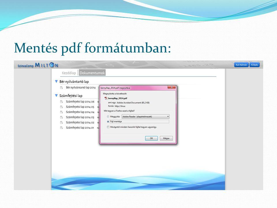 Mentés pdf formátumban: