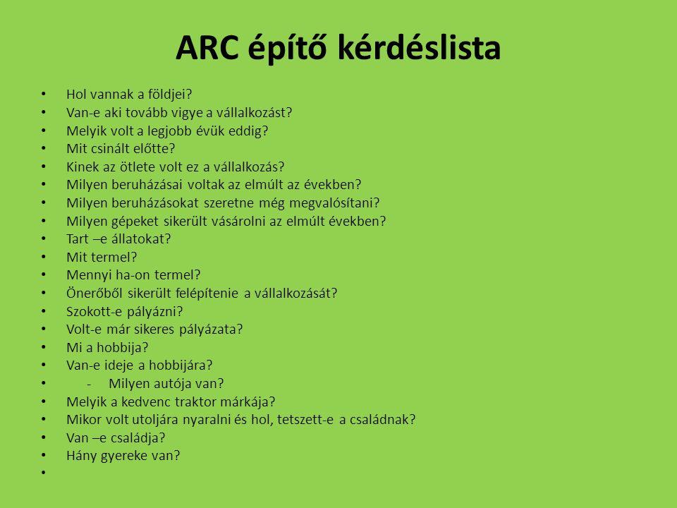 ARC építő kérdéslista Hol vannak a földjei? Van-e aki tovább vigye a vállalkozást? Melyik volt a legjobb évük eddig? Mit csinált előtte? Kinek az ötle