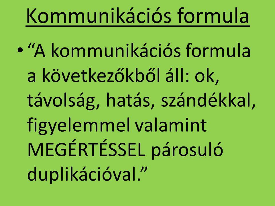 """Kommunikációs formula """"A kommunikációs formula a következőkből áll: ok, távolság, hatás, szándékkal, figyelemmel valamint MEGÉRTÉSSEL párosuló dupliká"""