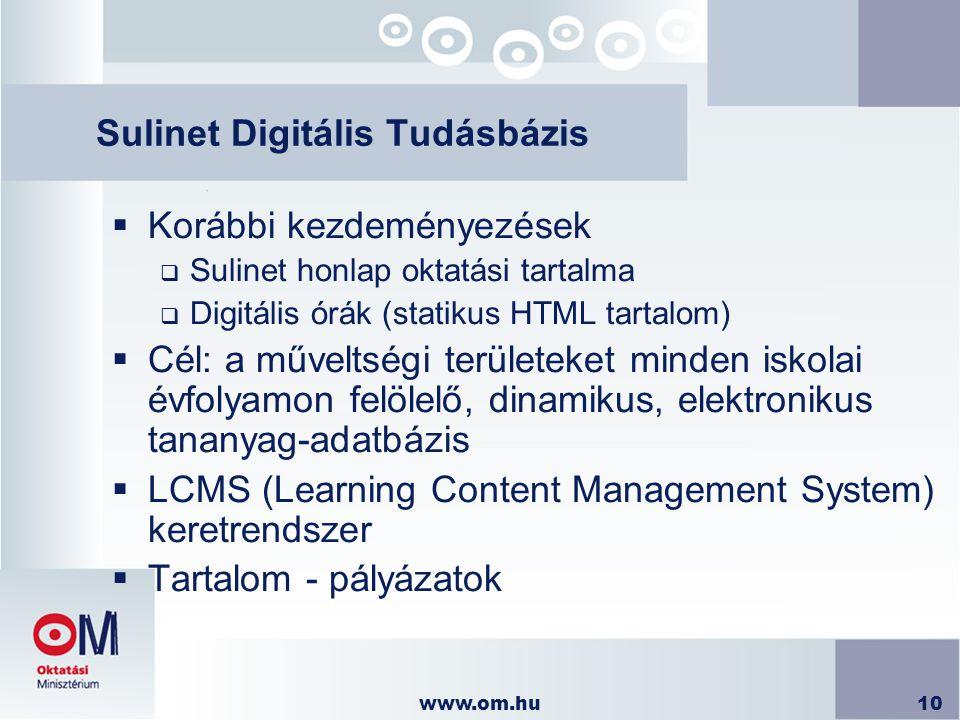 www.om.hu10 Sulinet Digitális Tudásbázis  Korábbi kezdeményezések  Sulinet honlap oktatási tartalma  Digitális órák (statikus HTML tartalom)  Cél: