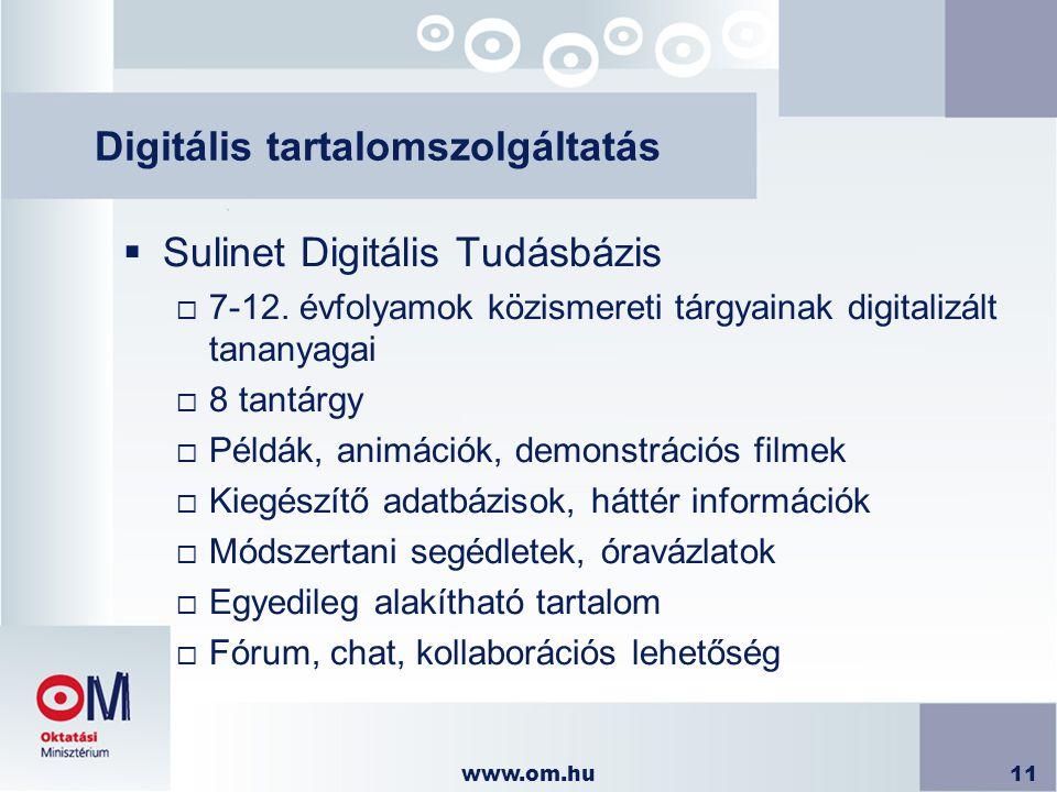 www.om.hu11 Digitális tartalomszolgáltatás  Sulinet Digitális Tudásbázis  7-12. évfolyamok közismereti tárgyainak digitalizált tananyagai  8 tantár
