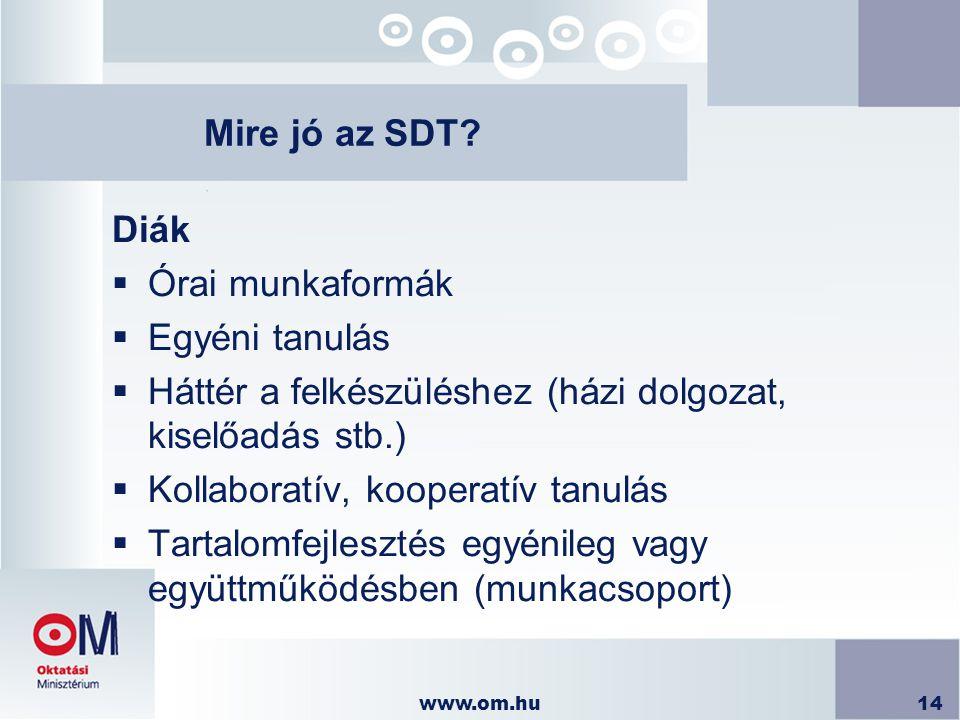 www.om.hu14 Mire jó az SDT? Diák  Órai munkaformák  Egyéni tanulás  Háttér a felkészüléshez (házi dolgozat, kiselőadás stb.)  Kollaboratív, kooper