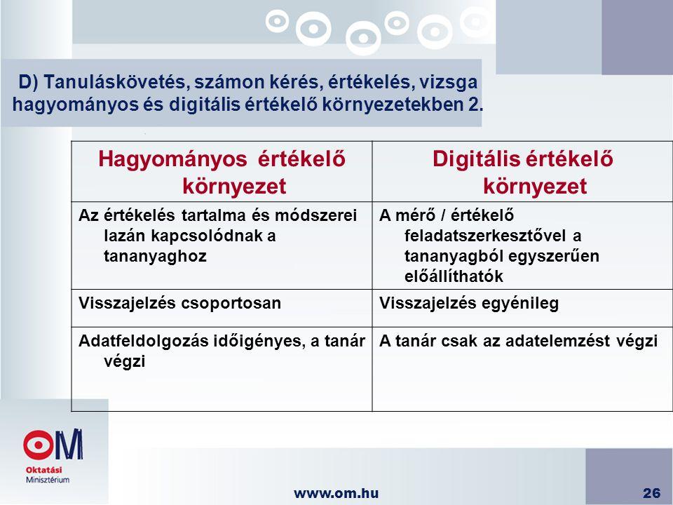 www.om.hu26 D) Tanuláskövetés, számon kérés, értékelés, vizsga hagyományos és digitális értékelő környezetekben 2. Hagyományos értékelő környezet Digi