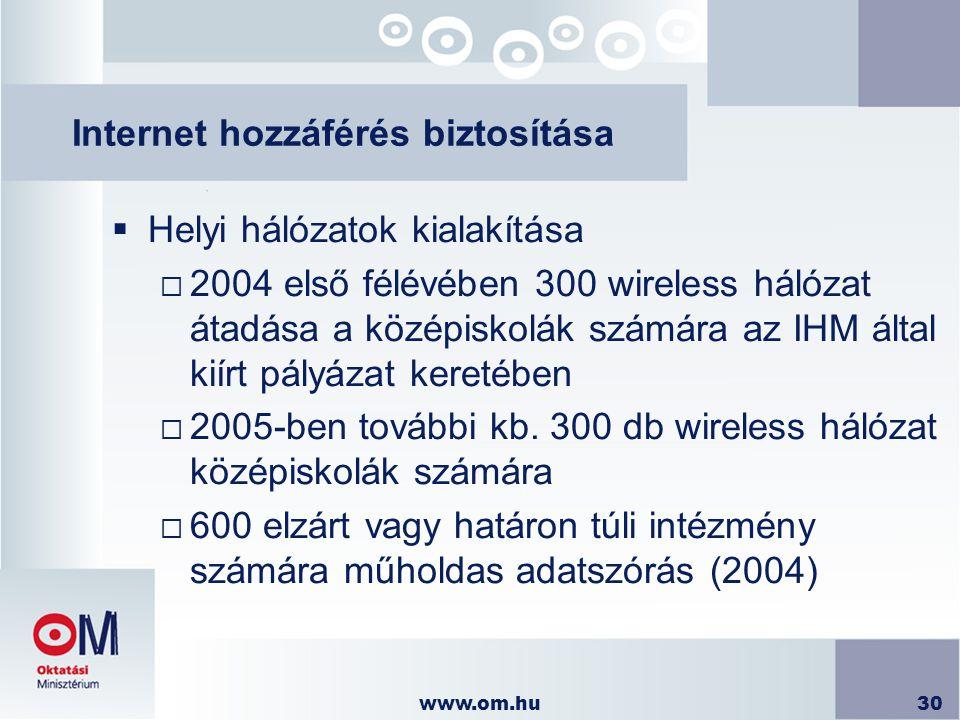 www.om.hu30 Internet hozzáférés biztosítása  Helyi hálózatok kialakítása  2004 első félévében 300 wireless hálózat átadása a középiskolák számára az