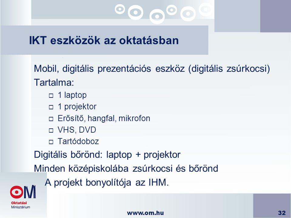 www.om.hu32 IKT eszközök az oktatásban Mobil, digitális prezentációs eszköz (digitális zsúrkocsi) Tartalma:  1 laptop  1 projektor  Erősítő, hangfa
