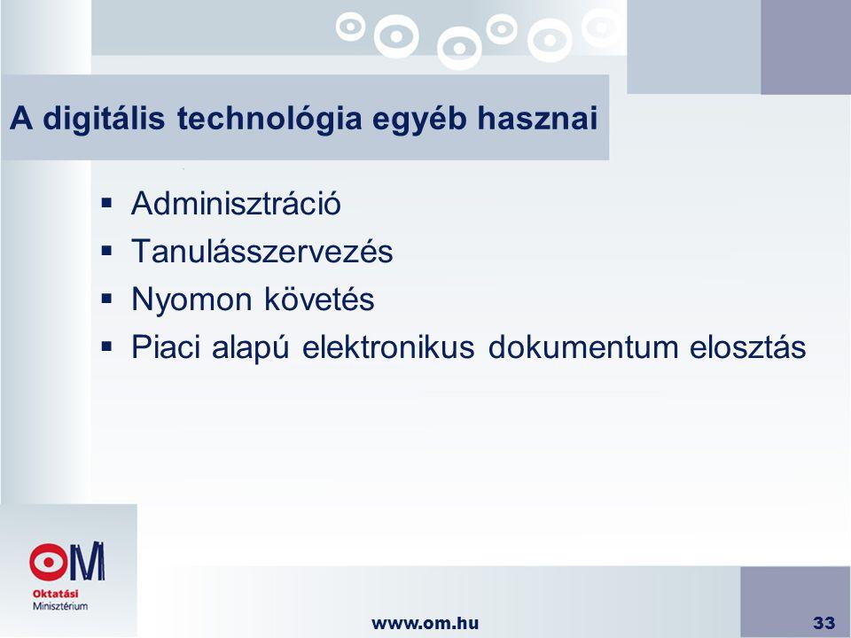 www.om.hu33 A digitális technológia egyéb hasznai  Adminisztráció  Tanulásszervezés  Nyomon követés  Piaci alapú elektronikus dokumentum elosztás