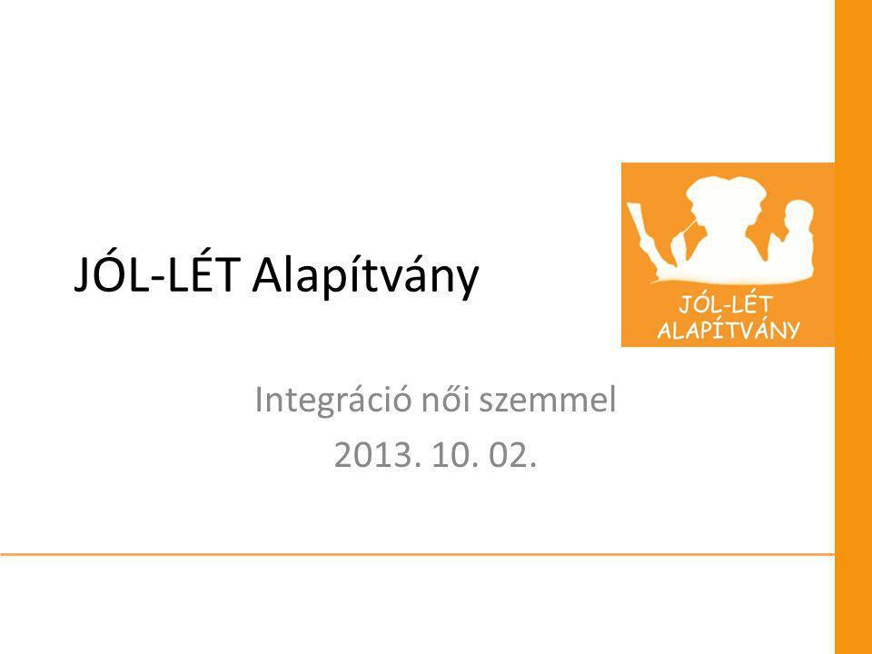 JÓL-LÉT Alapítvány Integráció női szemmel 2013. 10. 02.