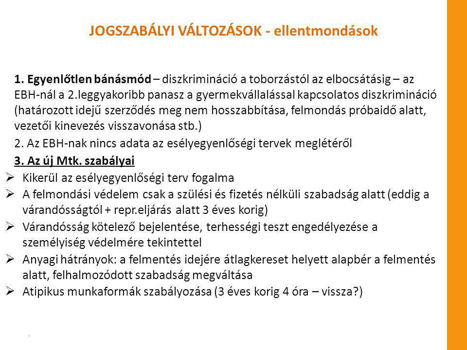 JOGSZABÁLYI VÁLTOZÁSOK - ellentmondások 1.