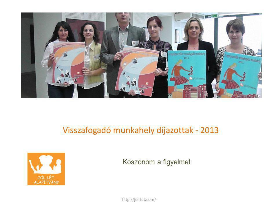 Visszafogadó munkahely díjazottak - 2013 Köszönöm a figyelmet http://jol-let.com/