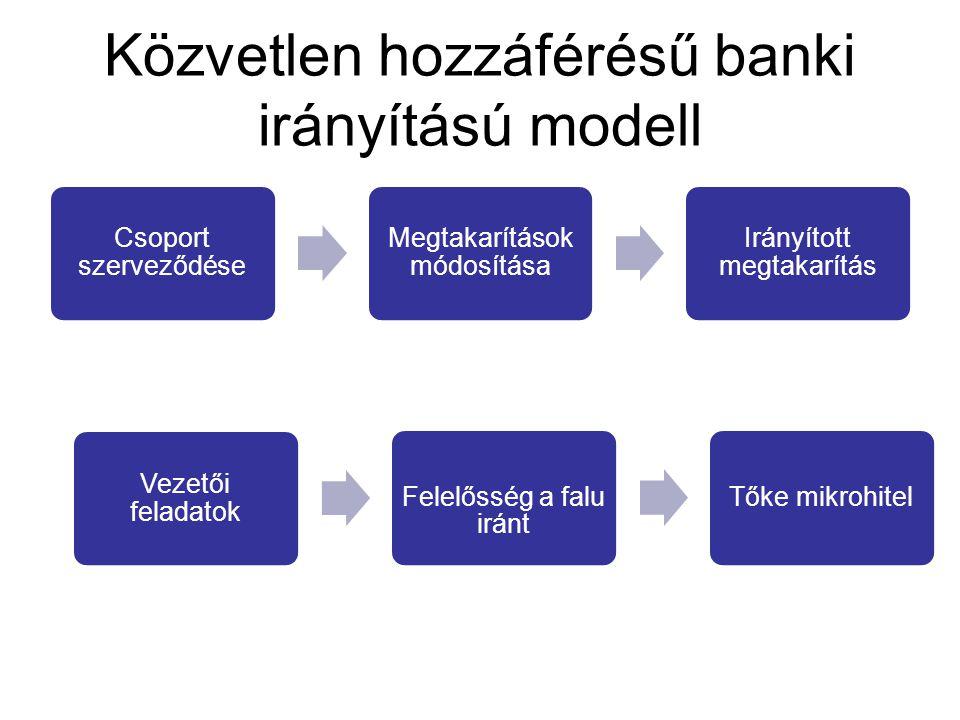 Közvetlen hozzáférésű banki irányítású modell Csoport szerveződése Megtakarítások módosítása Irányított megtakarítás Vezetői feladatok Felelősség a fa