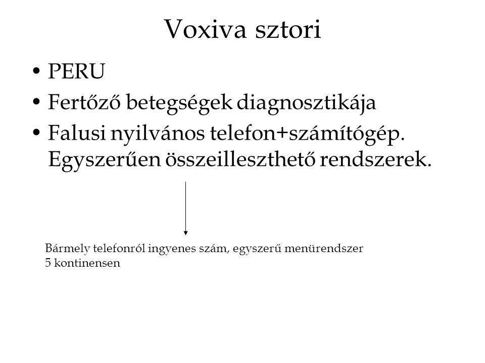 Voxiva sztori PERU Fertőző betegségek diagnosztikája Falusi nyilvános telefon+számítógép. Egyszerűen összeilleszthető rendszerek. Bármely telefonról i