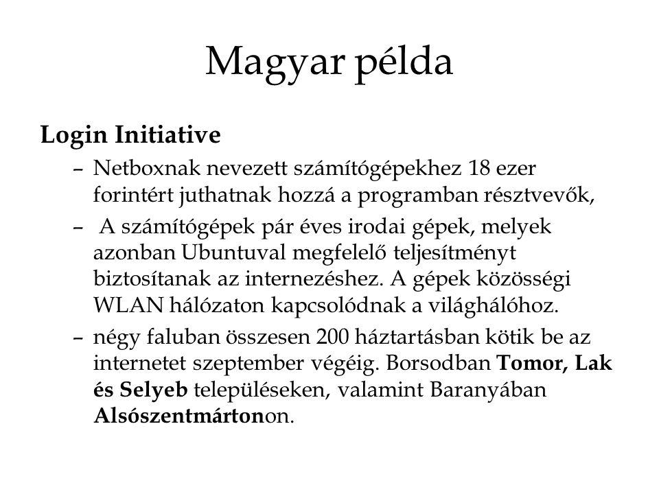 Magyar példa Login Initiative –Netboxnak nevezett számítógépekhez 18 ezer forintért juthatnak hozzá a programban résztvevők, – A számítógépek pár éves