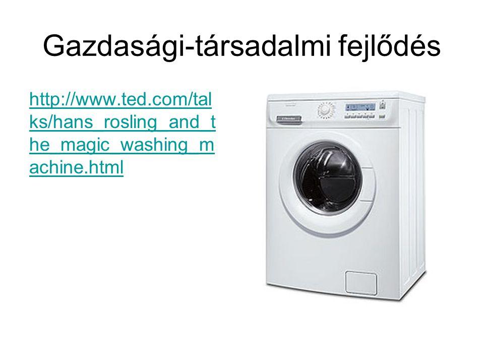 Gazdasági-társadalmi fejlődés http://www.ted.com/tal ks/hans_rosling_and_t he_magic_washing_m achine.html